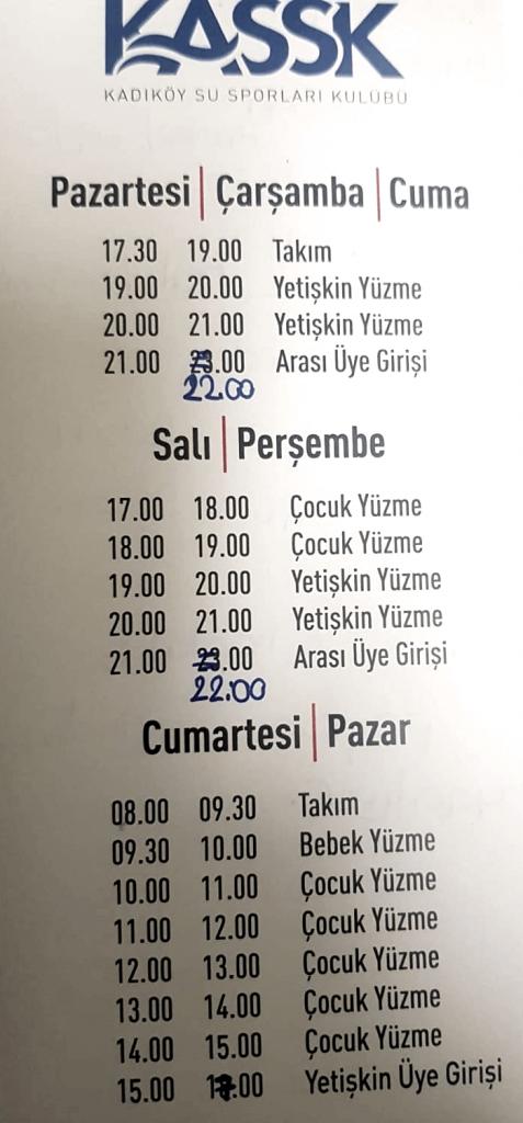 Kadıköy Su Sporları Kulübü Yüzme Havuzu Seanslar