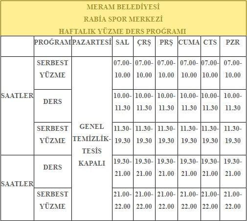Meram Belediyesi Rabia Spor Merkezi Haftalık Yüzme Ders Programı 2018-2019