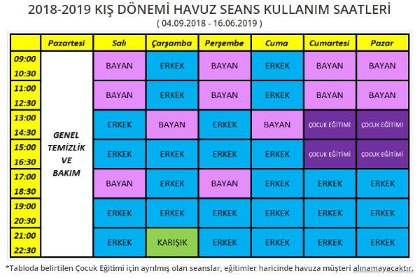 Dumlupınar Üniversitesi Olimpik Yüzme Havuzu Seansları - 2018-2019 Kış Dönemi