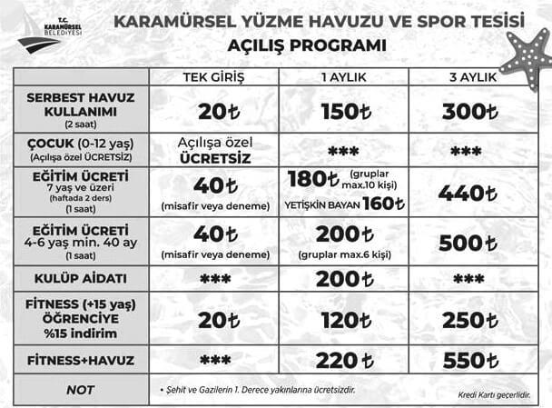 Karamürsel Yüzme Havuzu ve Spor Kompleksi Fiyatları