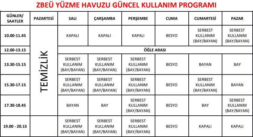 Zonguldak BEÜ Yüzme Havuzu Seansları 2019-2020